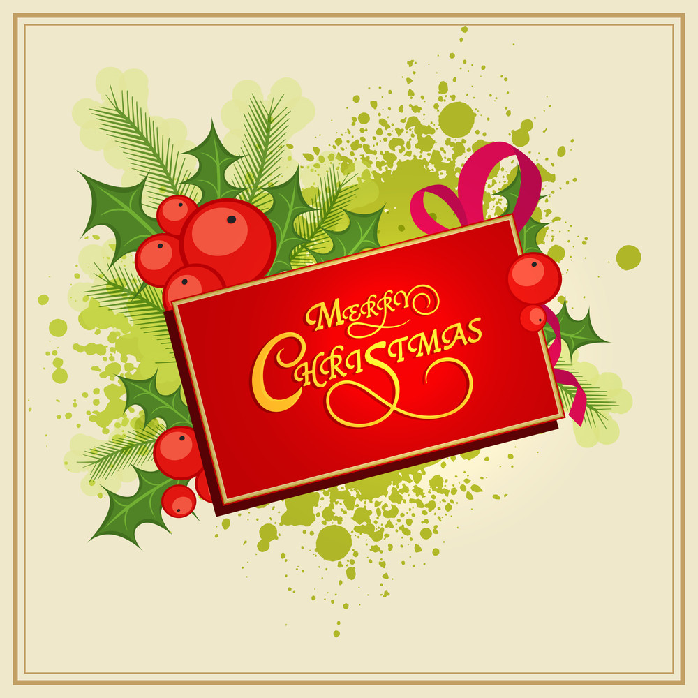 Beautiful greeting card design for Merry Christmas celebrations decorated with mistletoe