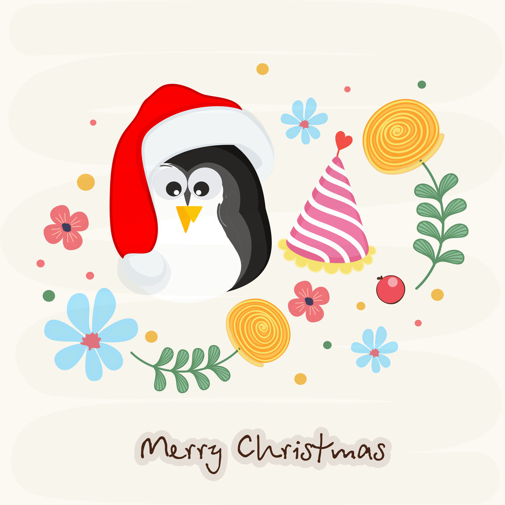 Merry Christmas celebrations greeting card design with penguin in Santa cap and colorful flowers on stylish background.