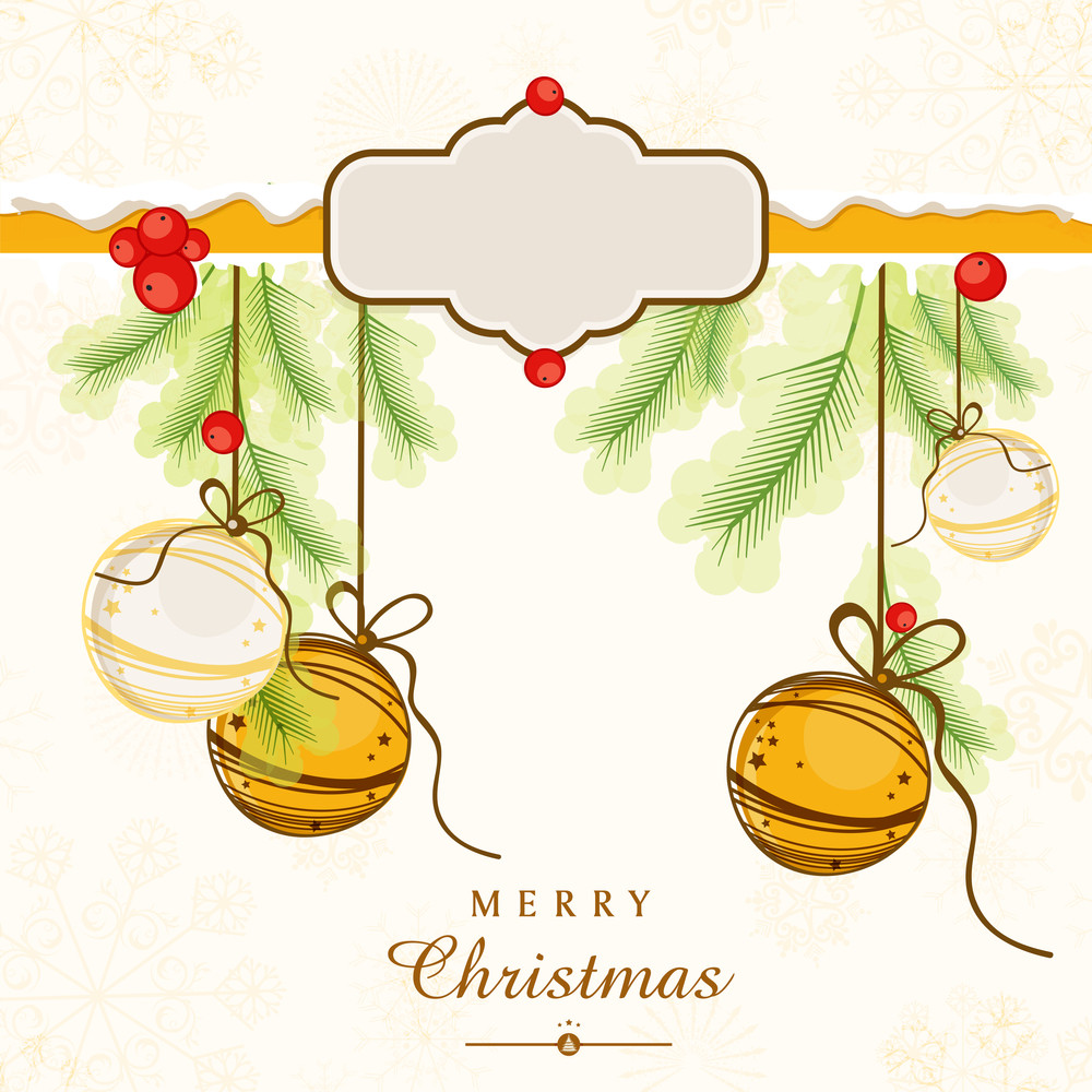 Merry Christmas celebrations greeting card design with hanging Xmas ball