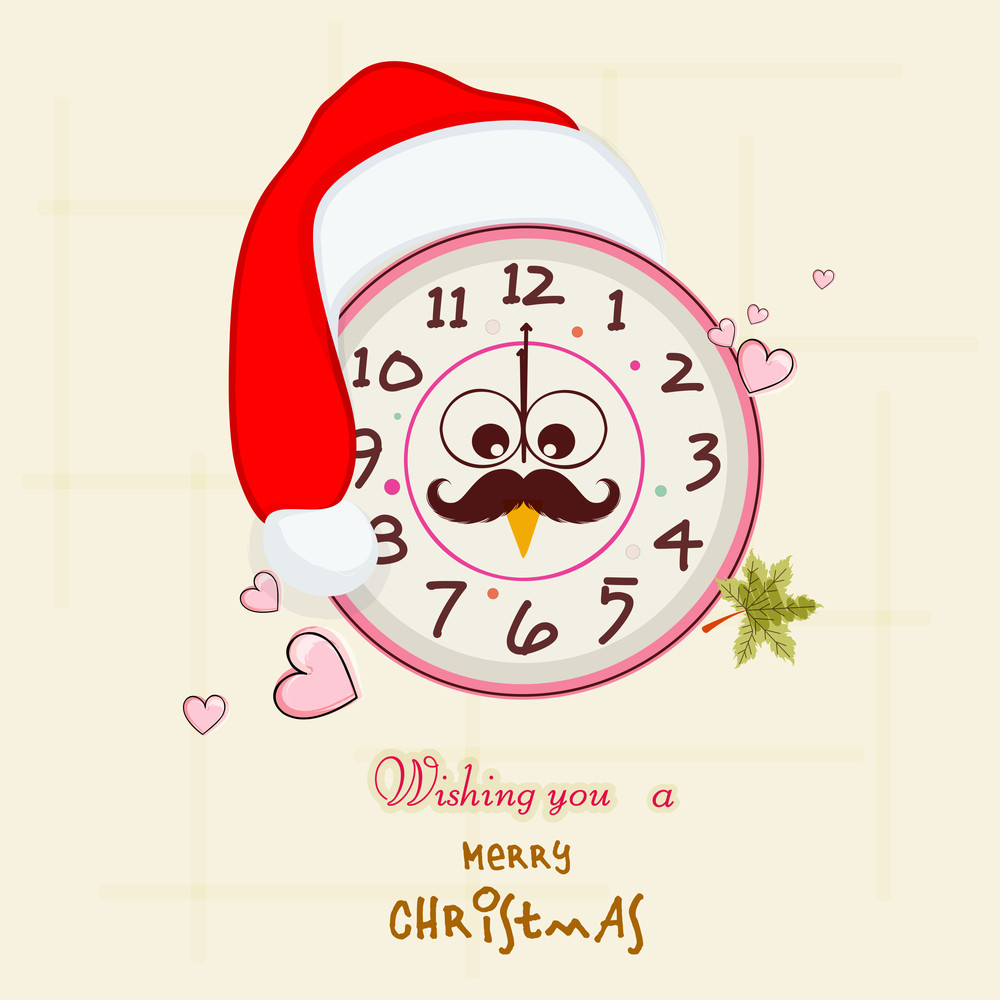 Stylish clock in Santa cap with funny face showing midnight time for Merry Christmas celebrations on stylish background.