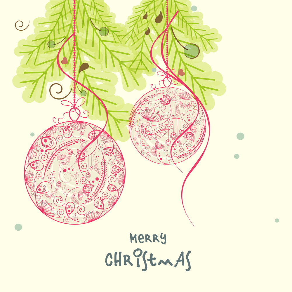 Floral decorated Xmas ball hanging on fir tree for Merry Christmas celebrations concept.