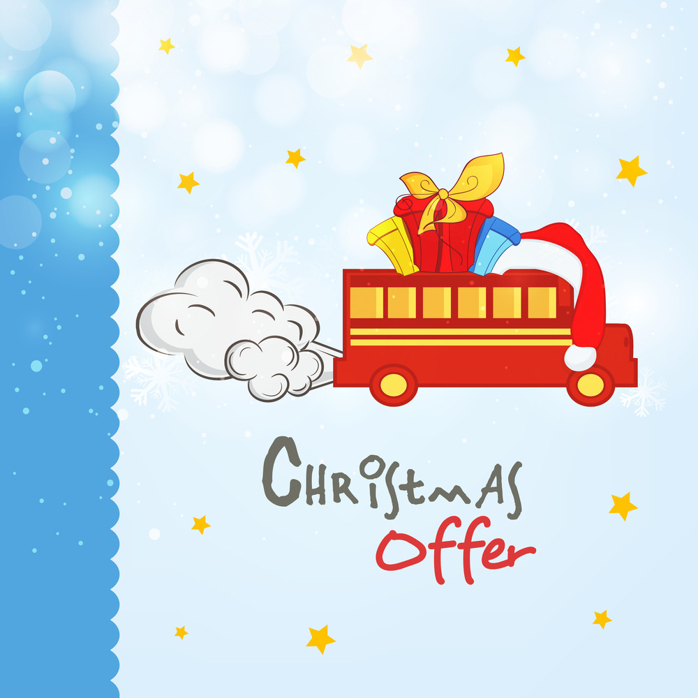 Stylish poster or banner for Merry Christmas celebration offer with gift boxes on truck on snowflakes and stars decorated background.