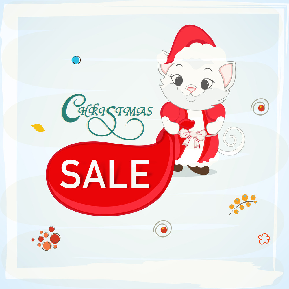 Beautiful poster or banner for Christmas sale with cute cat in Santa clothes on stylish sky blue background.