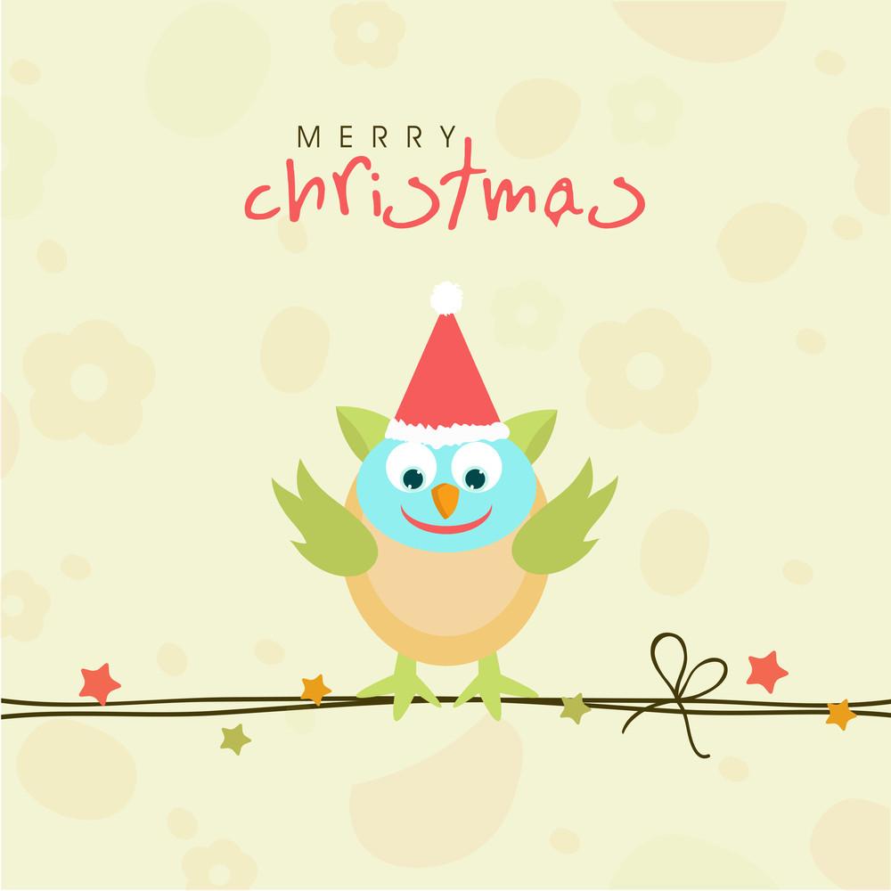 Cartoon of cute love bird in Santa cap sitting on rope for Merry Christmas celebration on stylish bakcground.