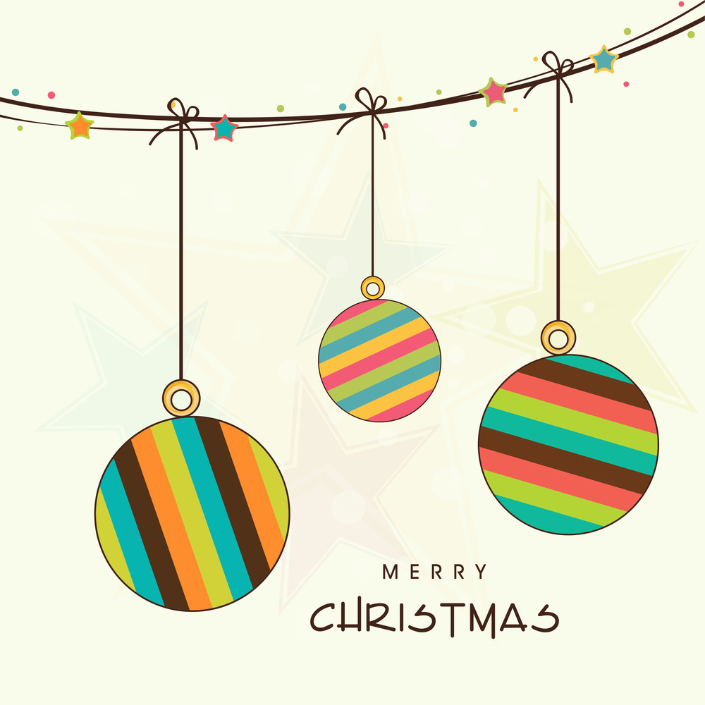 Merry Christmas celebration concept with hangins styllish ball over beige background.
