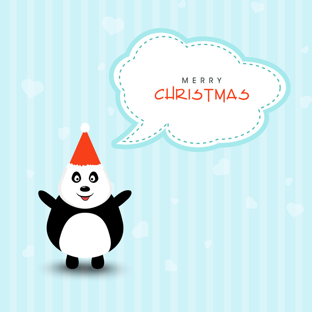 Cute cartoon of a penguin in Santa cap saying Merry Christmas on ...