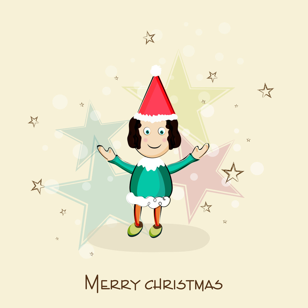 Little cute girl in Santa hat for Merry Christmas celebration on stars decorated beige background