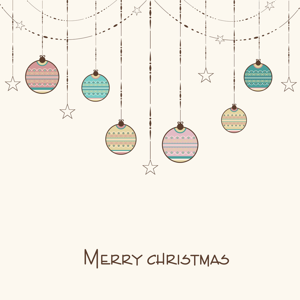 Merry Christmas celebration concept with hanging decorative balls