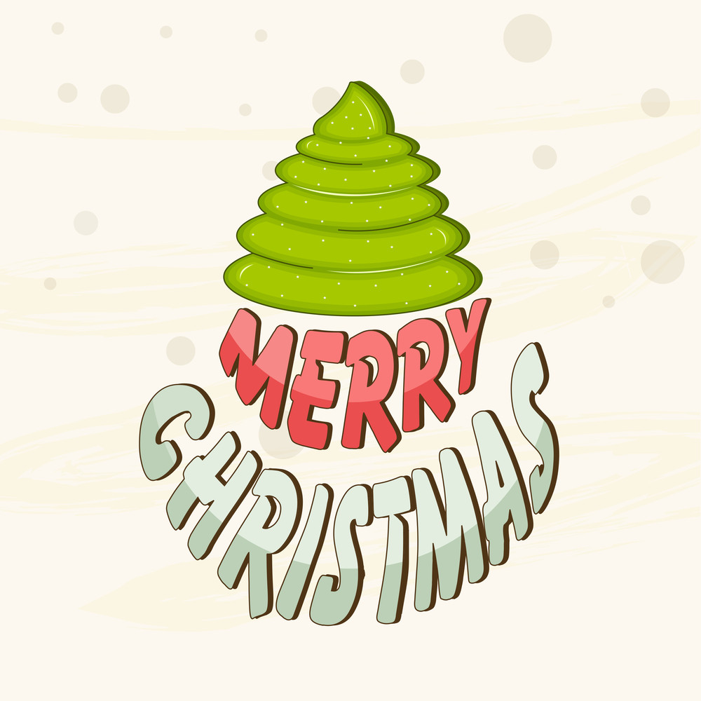 Stylish text of Merry Christmas with green design of Xmas tree on beige background.