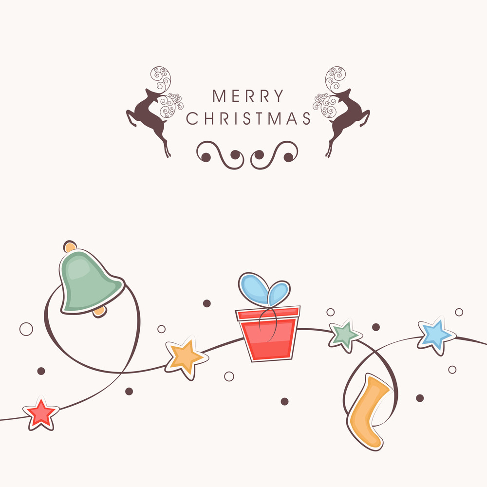Merry Christmas celebration with Xmas objects binding in a stars decorated rope on beige background.