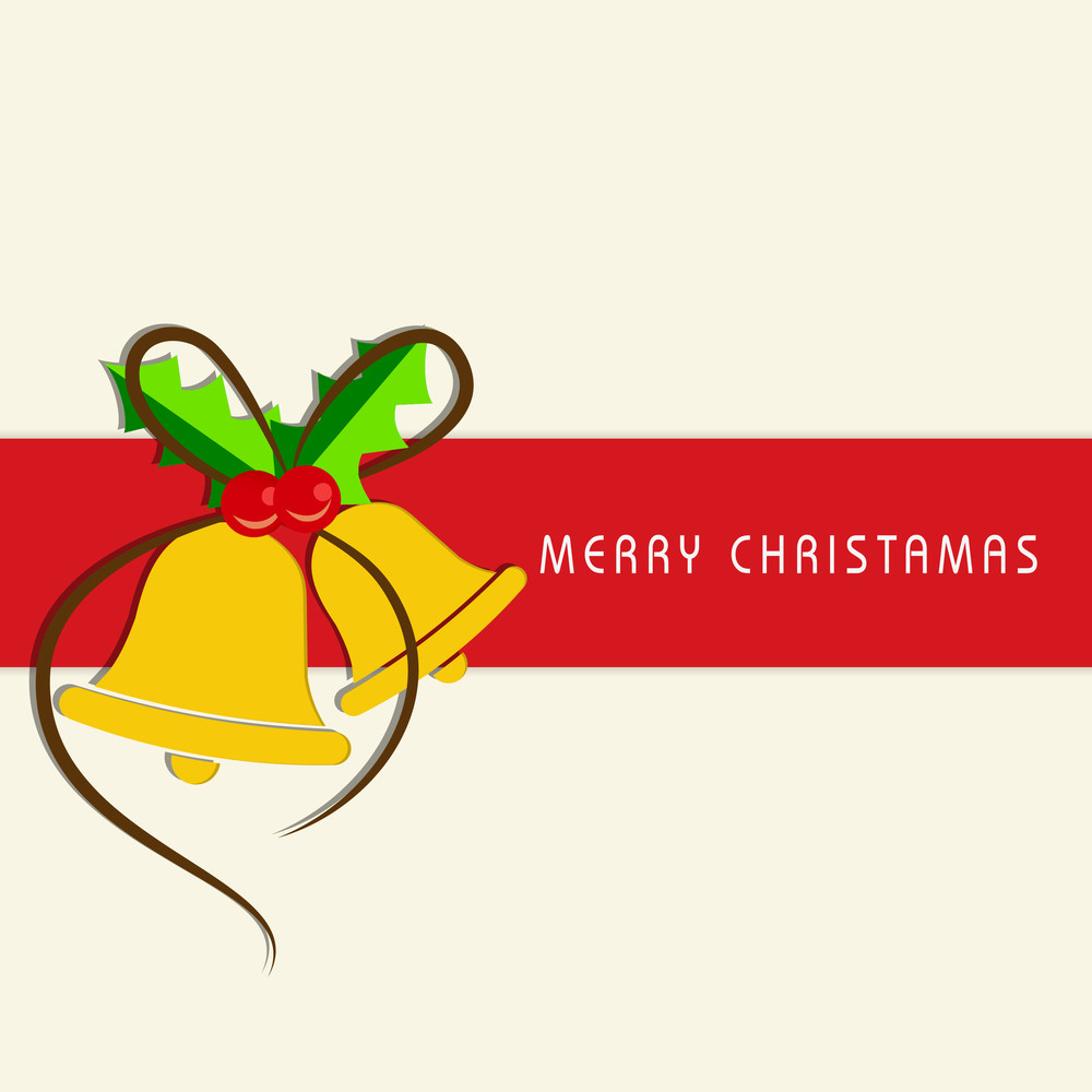 Greeting card or invitation card for Merry Christmas celebration with jingle bell and mistletoe on beige background.