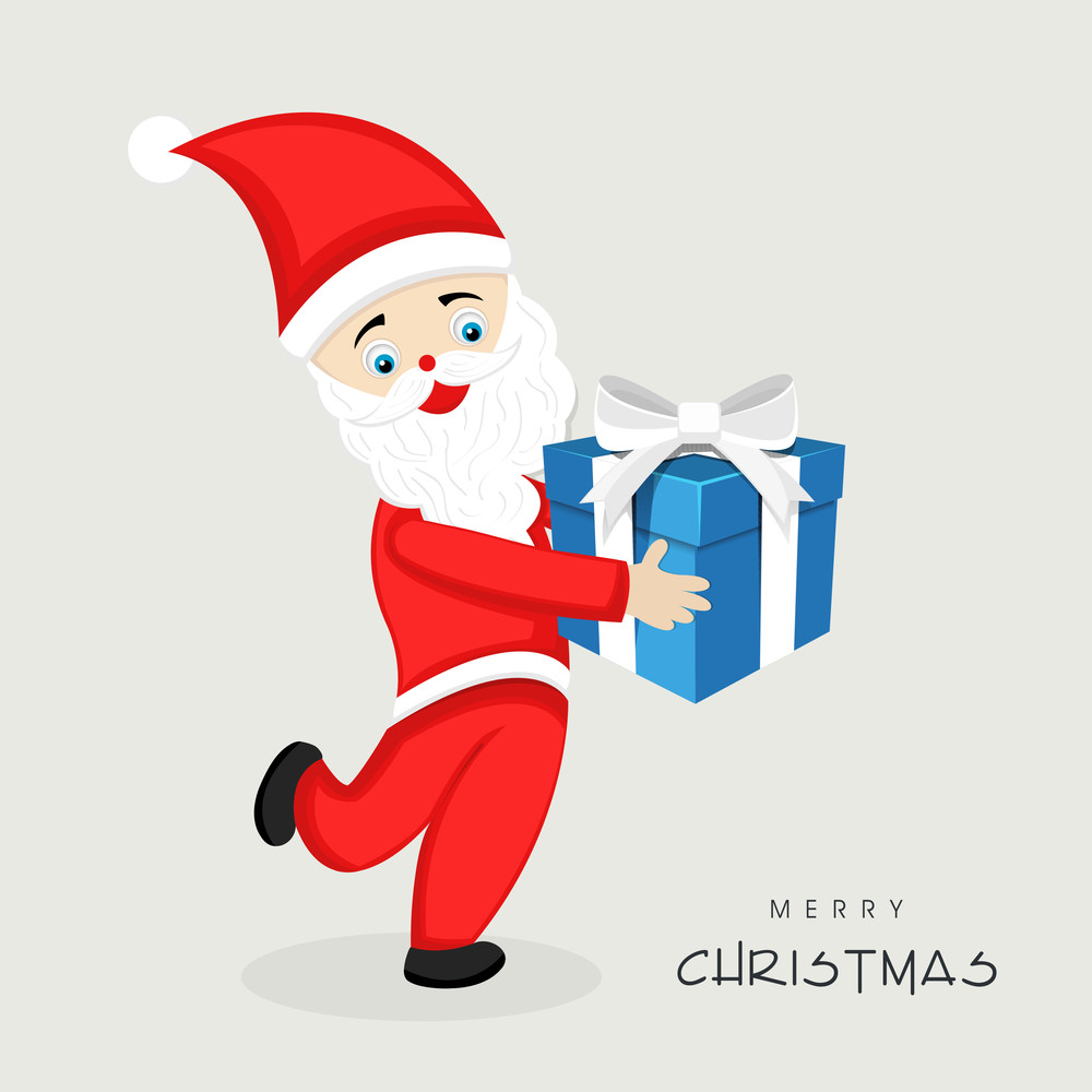 Cute cartoon of a Santa Claus holding a blue gift box for Merry Christmas celebration on grey background.