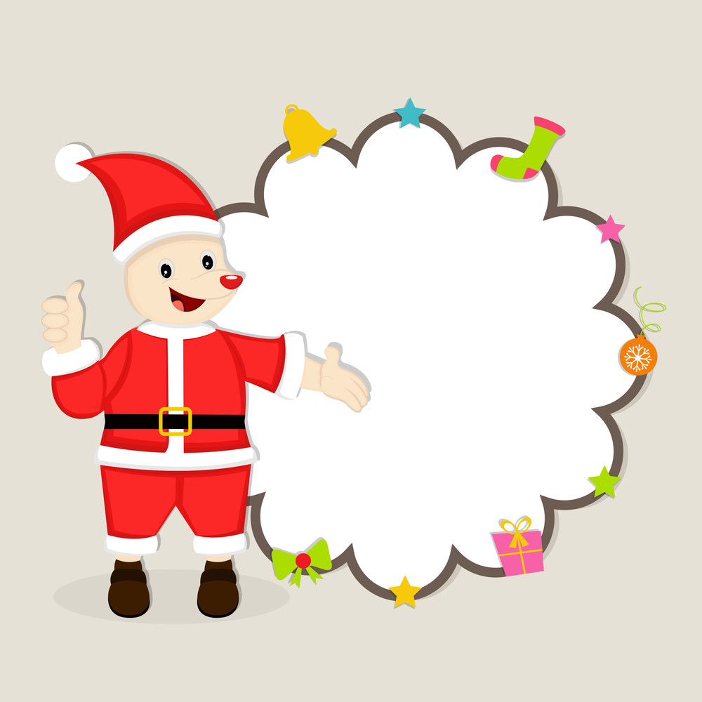 Cute cartoon of a Santa Claus showing blak stylish frame which decorated by christmas object for Christmas and other occasion.