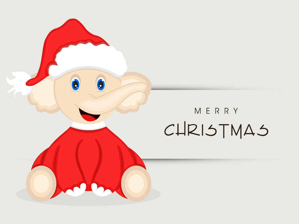 Cute cartoon of a elephant wearing Santa dress for Merry Christmas celebration on grey background.