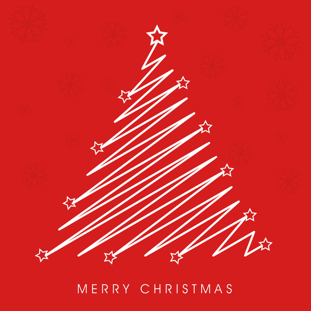 Merry Christmas celebration with creative stylish Xmas tree on snowflake decorated red background.