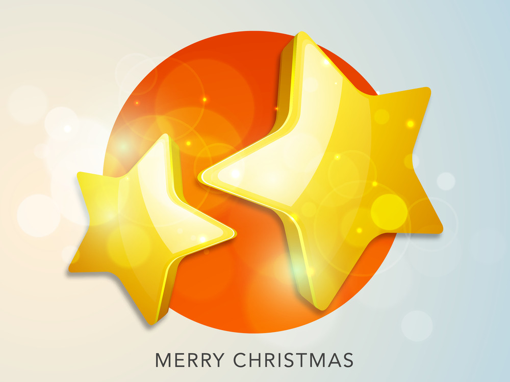 Beautiful poster of Christmas with shiny golden stars and stylish text of Merry Christmas.