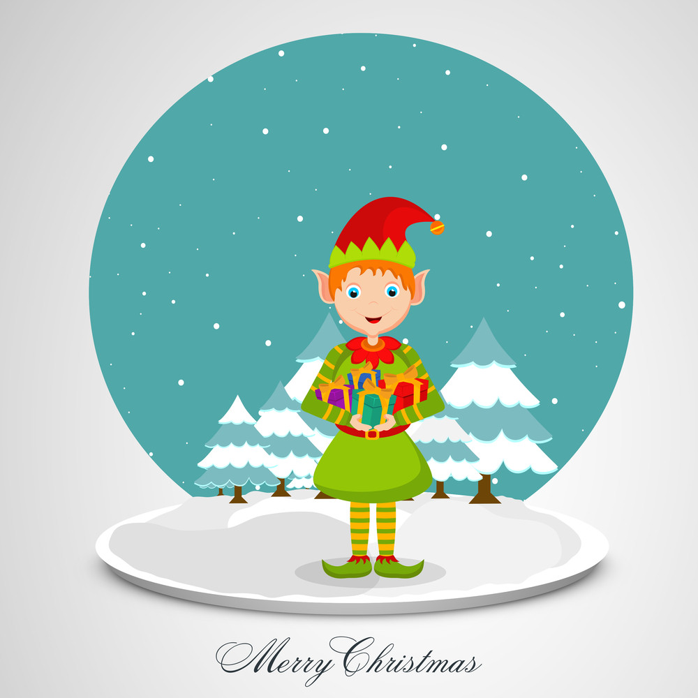 Cute cartoon girl holding gift in her hand with christmas tree