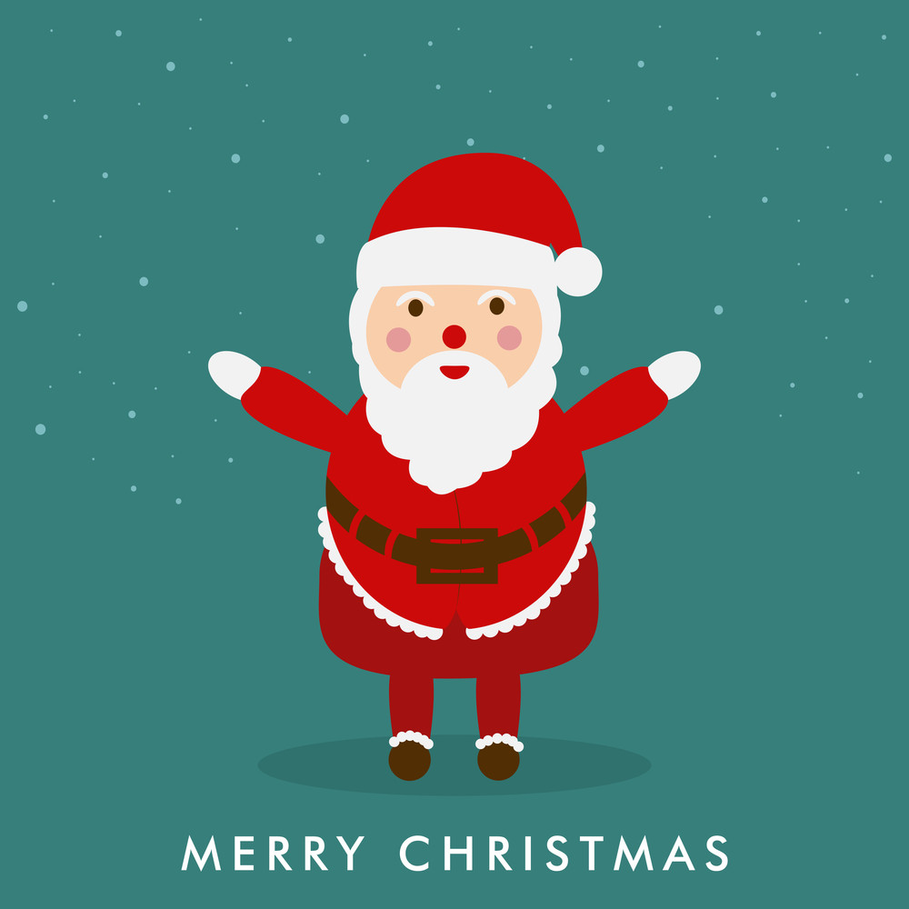 Kiddish Santa Clause extending his arms with stylish text on sea green background with snowflakes.