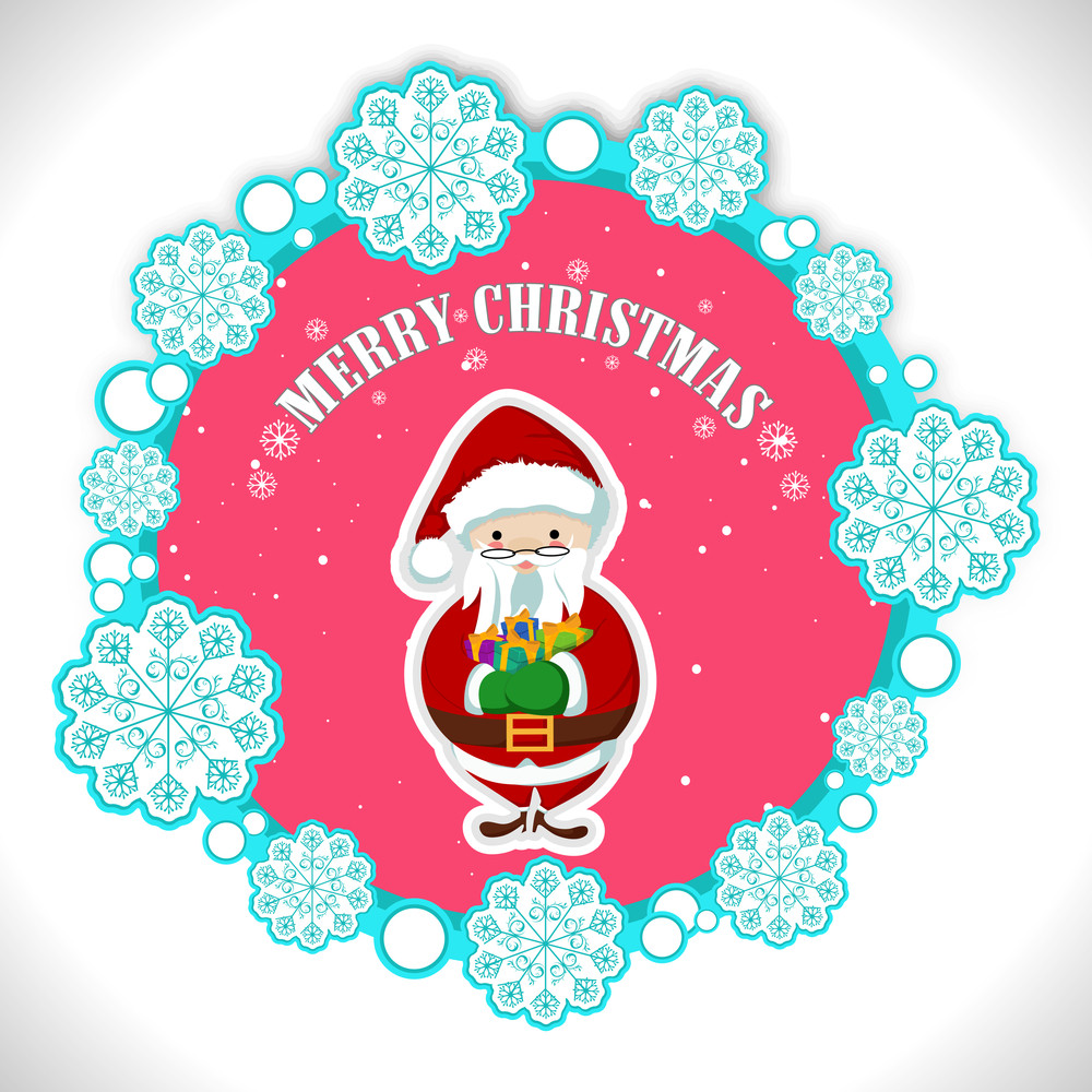 Floral Decorated tag and label for Merry Christmas with Santa Clause holding gifts in his hand on glossy background.