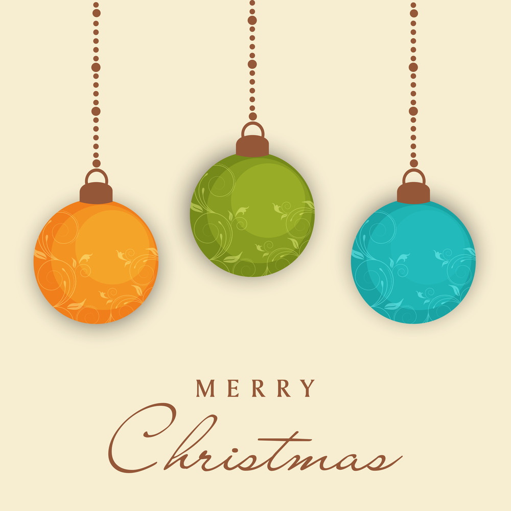 Beautiful poster with floral decorated balls and stylish text of Merry Christmas.