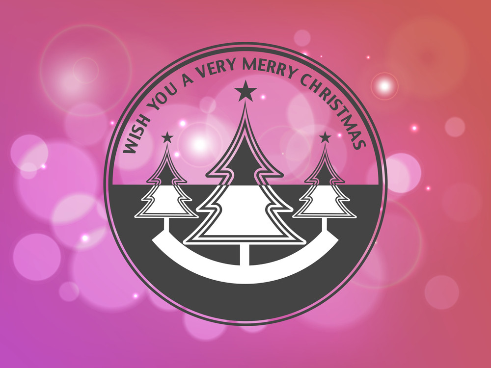 Beautiful tag or sticker with christmas tree and stylish wishing text on shiny pink background.
