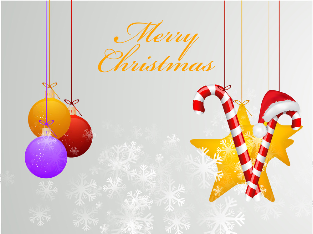 Stylish text of Merry Christmas with hanging balls and gifts on grey background with snowflakes.