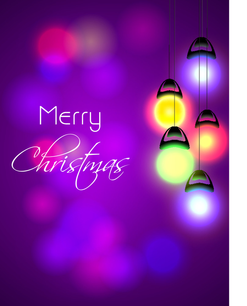 Stylish text of Merry Christmas with hanging lights on shiny purple background.