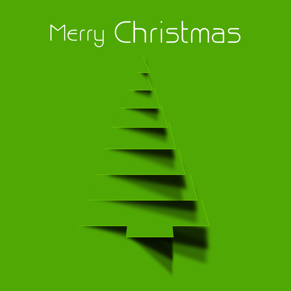 Christmas celebration with stylish wishing text and design of holly tree on green background.