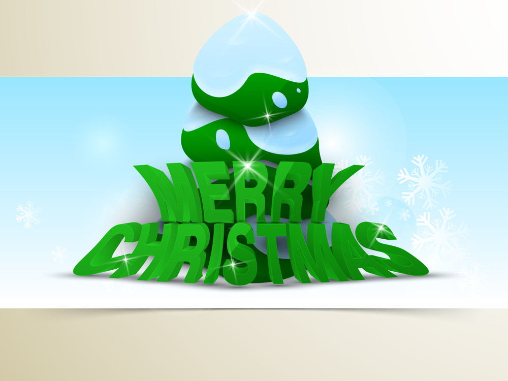 Christmas Day celebration with shiny 3d text of Merry Christmas