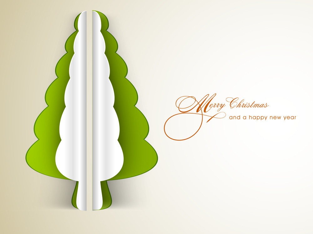 Christmas festival celebration with holly tree design and stylish text of Merry Christmas and New Year.