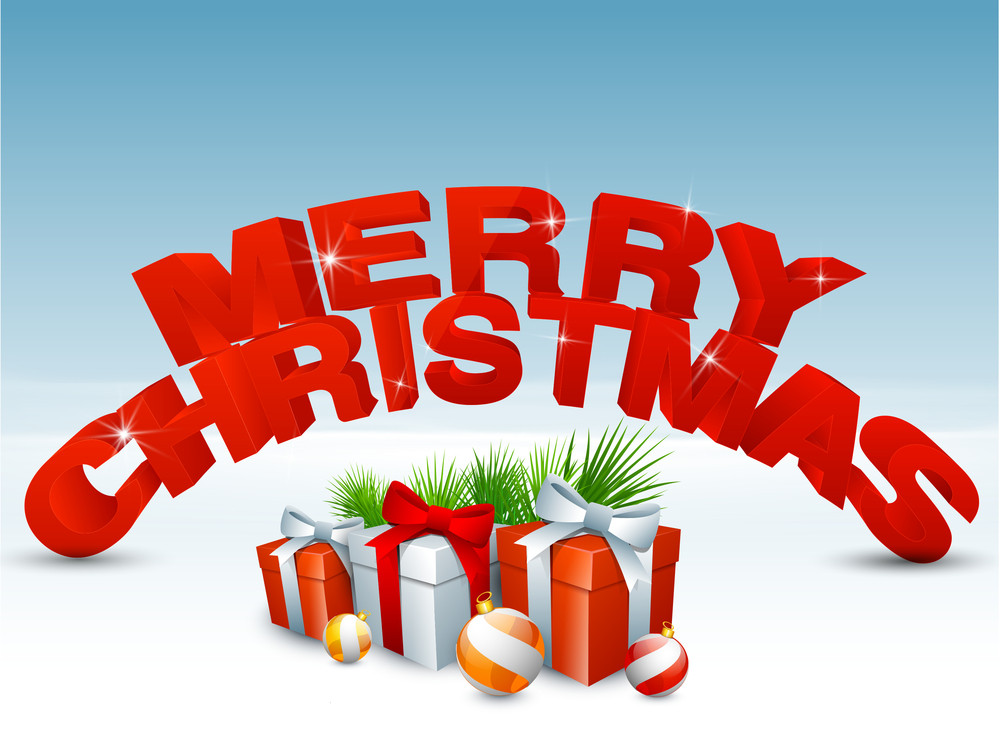 Christmas Day Celebration.Christmas Day Celebration With Shiny 3d Text Of Merry