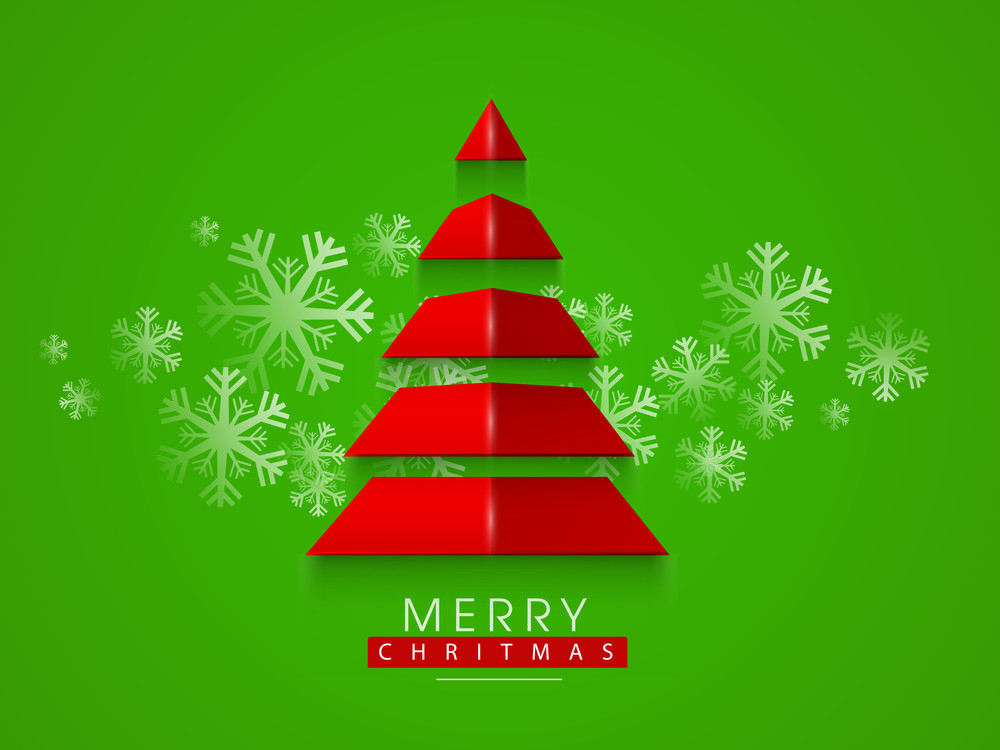 Paper art design of holly tree with snowflakes and stylish text of Merry Christmas on bright green background.