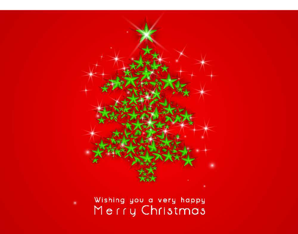Shining Christmas tree decorated with stars and stylish text of Merry Christmas on bright red background.