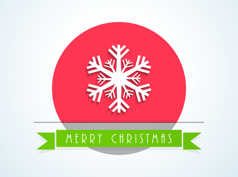 Christmas Day celebration with snowflake and stylish text of Merry Christmas in ribbon on white background.