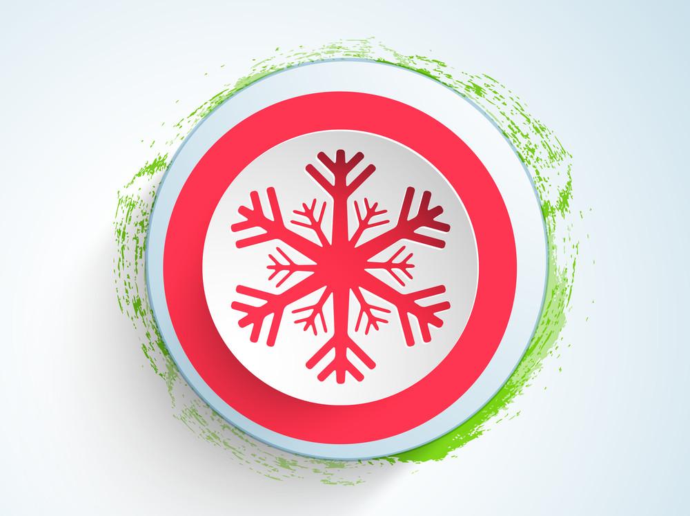 Christmas Day celebration with snowflake sticker on light skyblue background.