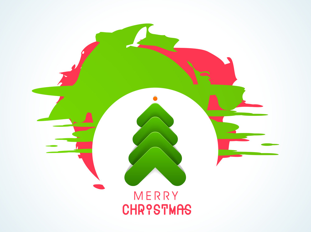 Christmas Day celebration with holly tree design and stylish text of Merry Christmas.