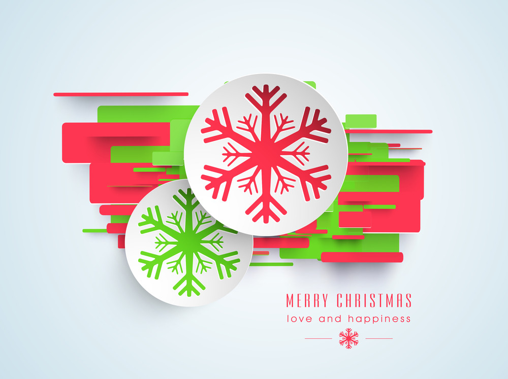 Christmas day celebration with snowflakes stickers and wishing text of Merry Christmas on stylish background.