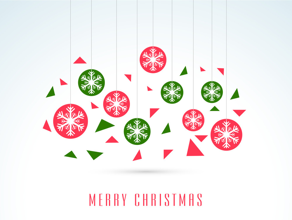 Chirstmas Day celebration with hanging snowflakes and stylsh text of Merry Christmas.