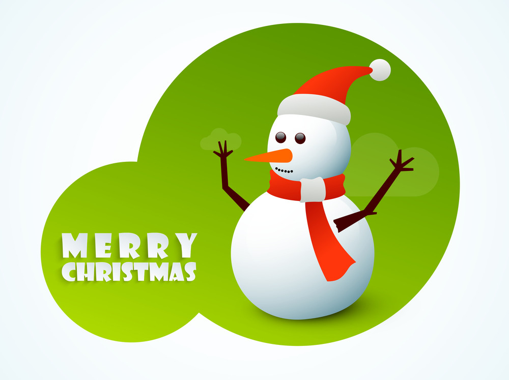 Celebration of Christmas Day with snowman and stylish text of Merry Christmas in green circle on white background.