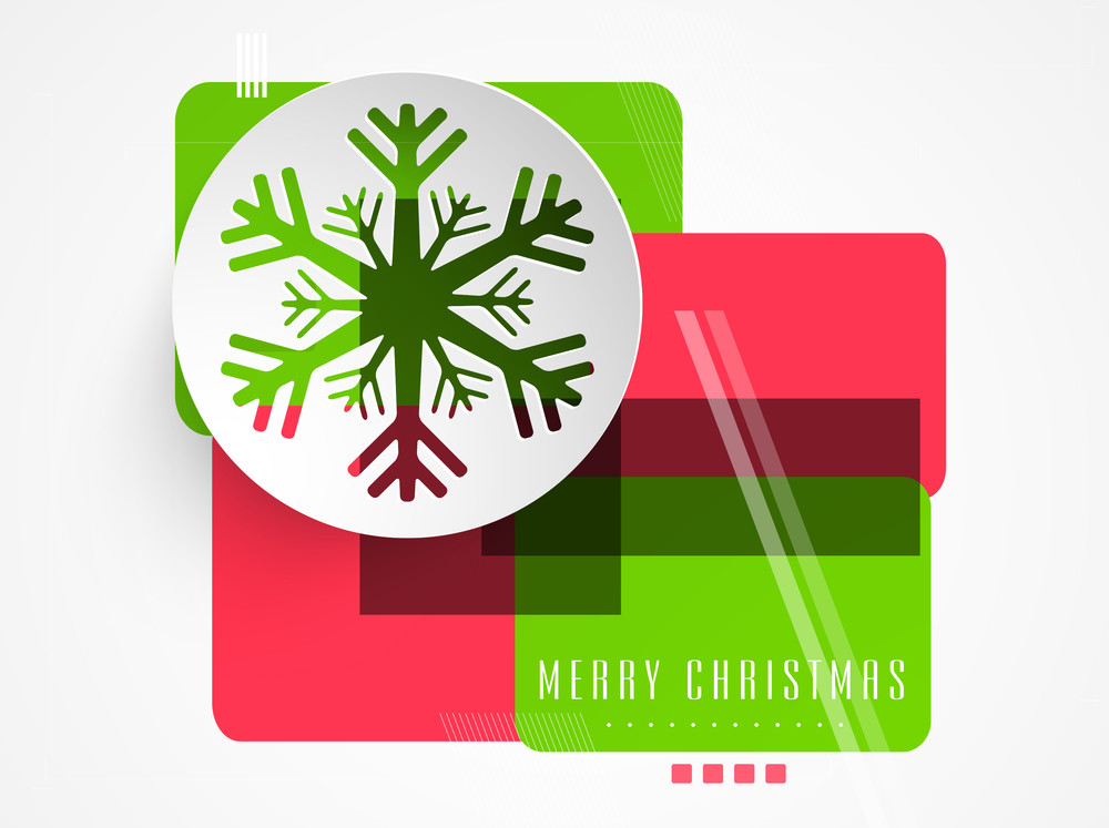 Celebration of Christmas Day with snowflake and text of Merry Christmas on stylish background.