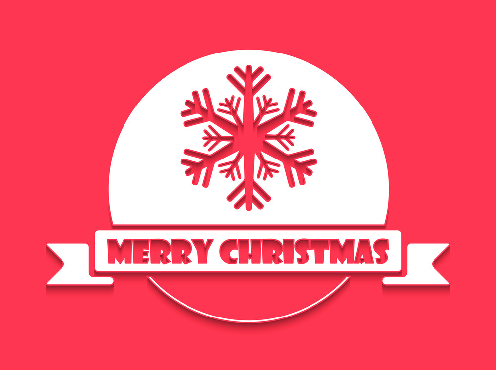 Christmas Day celebration with snowflake and stylish text of Merry Chirstmas on red background.