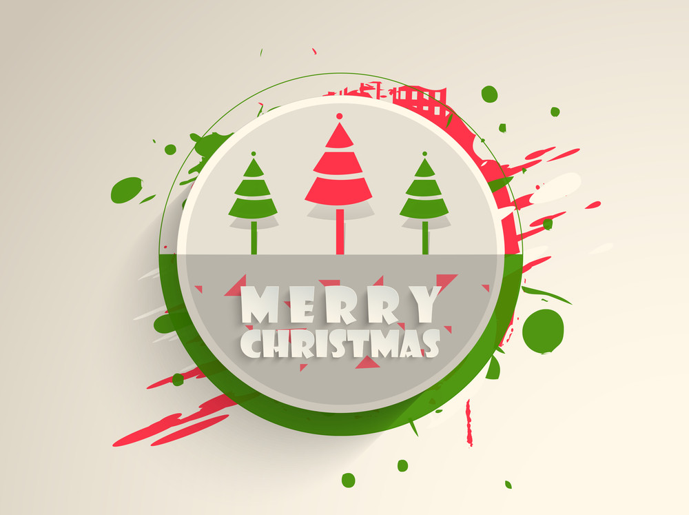 Christmas Day celebration with holly tree and stylish text of Merry Christmas.