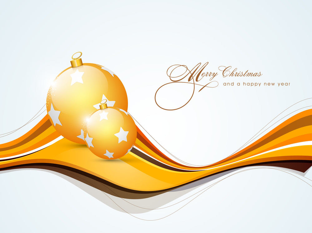 Beautiful golden decoration ball with stylish text of Merry Christmas and Happy New Year.