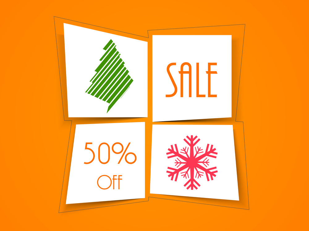 Sale tag or sticker for Christmas Day with 50% off on orange background.