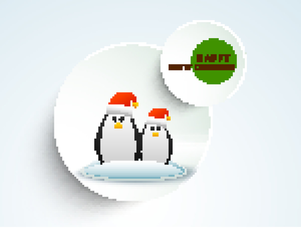 Christmas Day celebration with two penguine wearing Santa's cap and stylish text of Happy Merry Christmas.