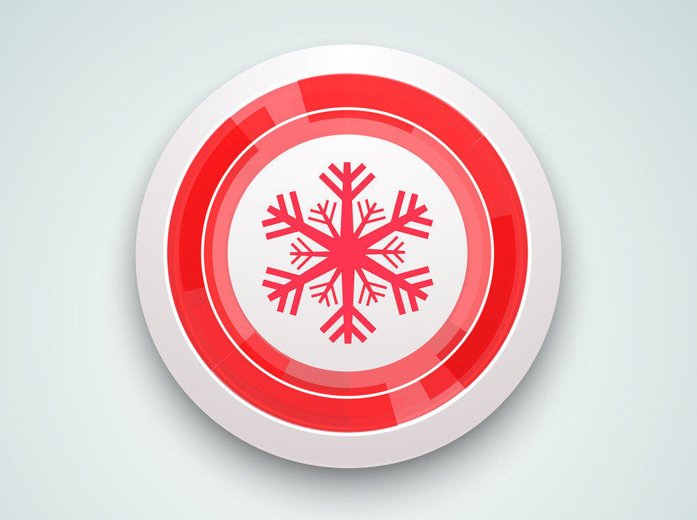 Christmas Day celebration with snowflake in rounded frame on light sky blue background.