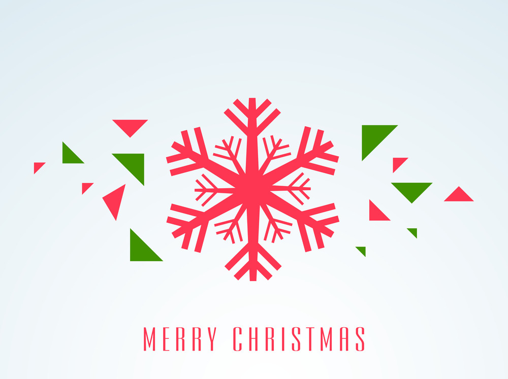 Christmas Day celebration with snowflake and stylish text of Merry Christmas on light sky blue background.