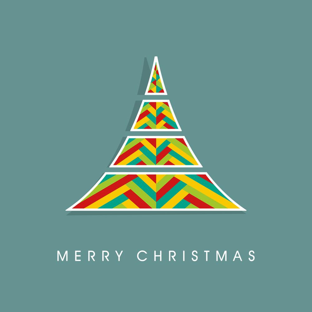 Stylish creative design of Xmas tree for Merry Christmas celebration on sea green background.