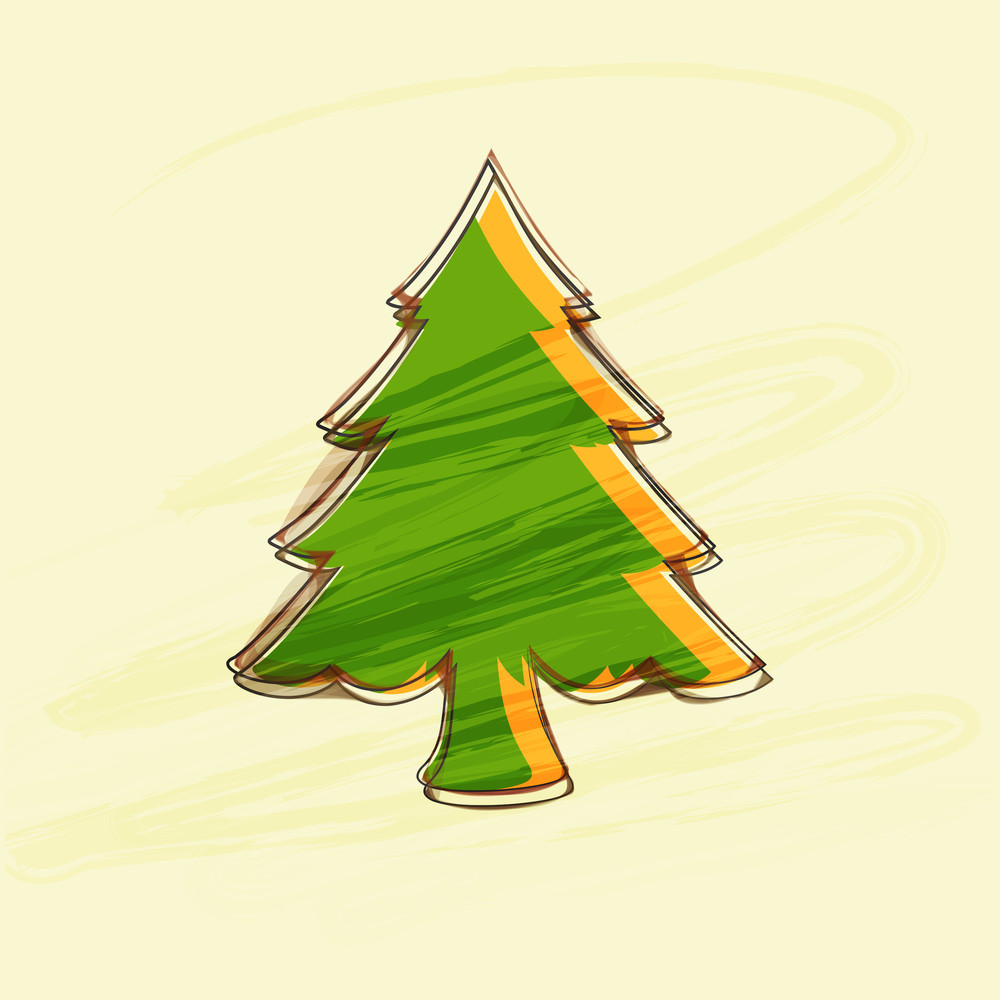 Beautiful creative Xmas tree in green and orange color on beige background for Christmas and other occasion.