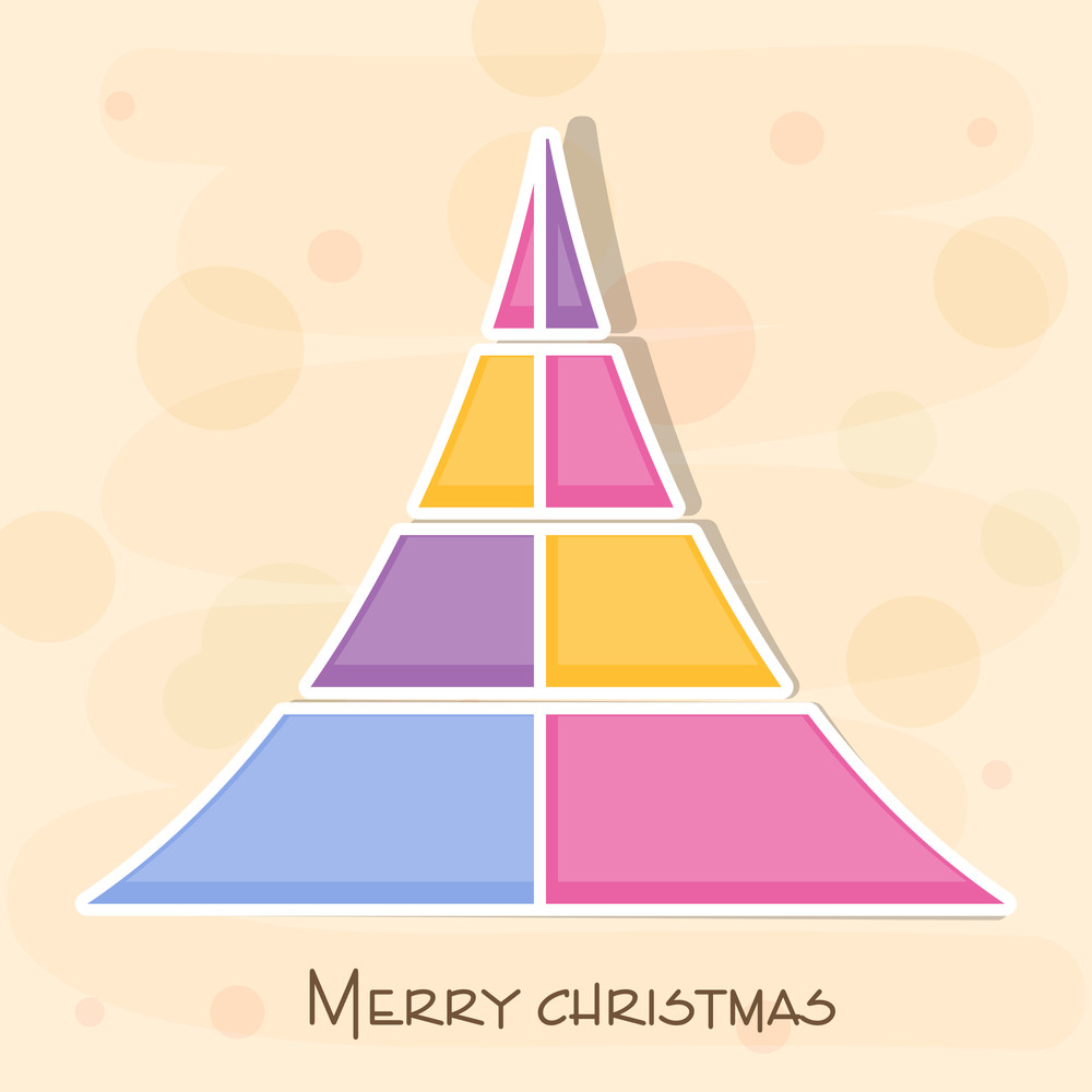 Colorful design of Xmas tree with shadow and stylish Merry Christmas text on beige background.